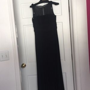 Long black gown with crystal ties on shoulders